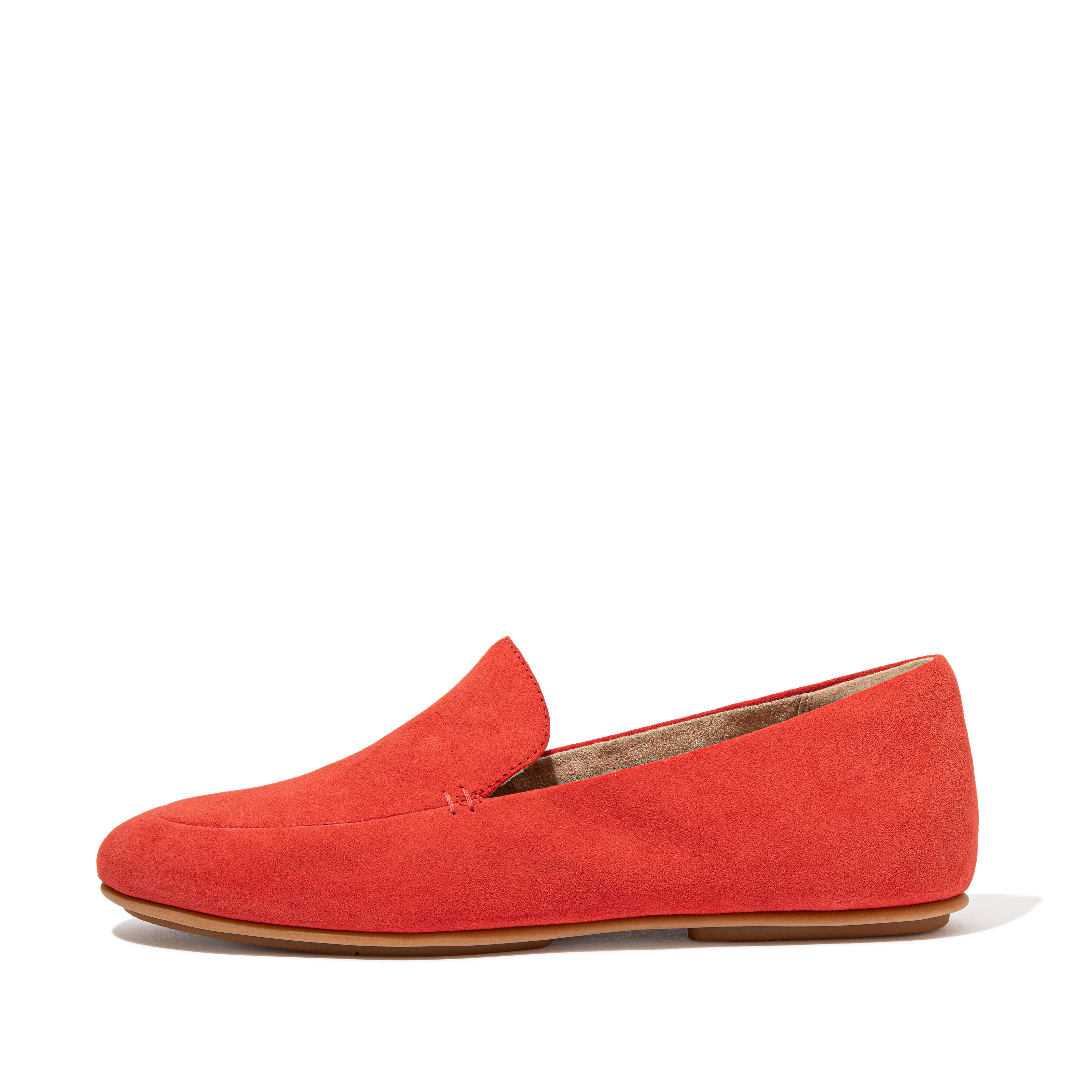 Womens Lena Suede Loafers , 핏플랍 FitFlop US,Coral Pink