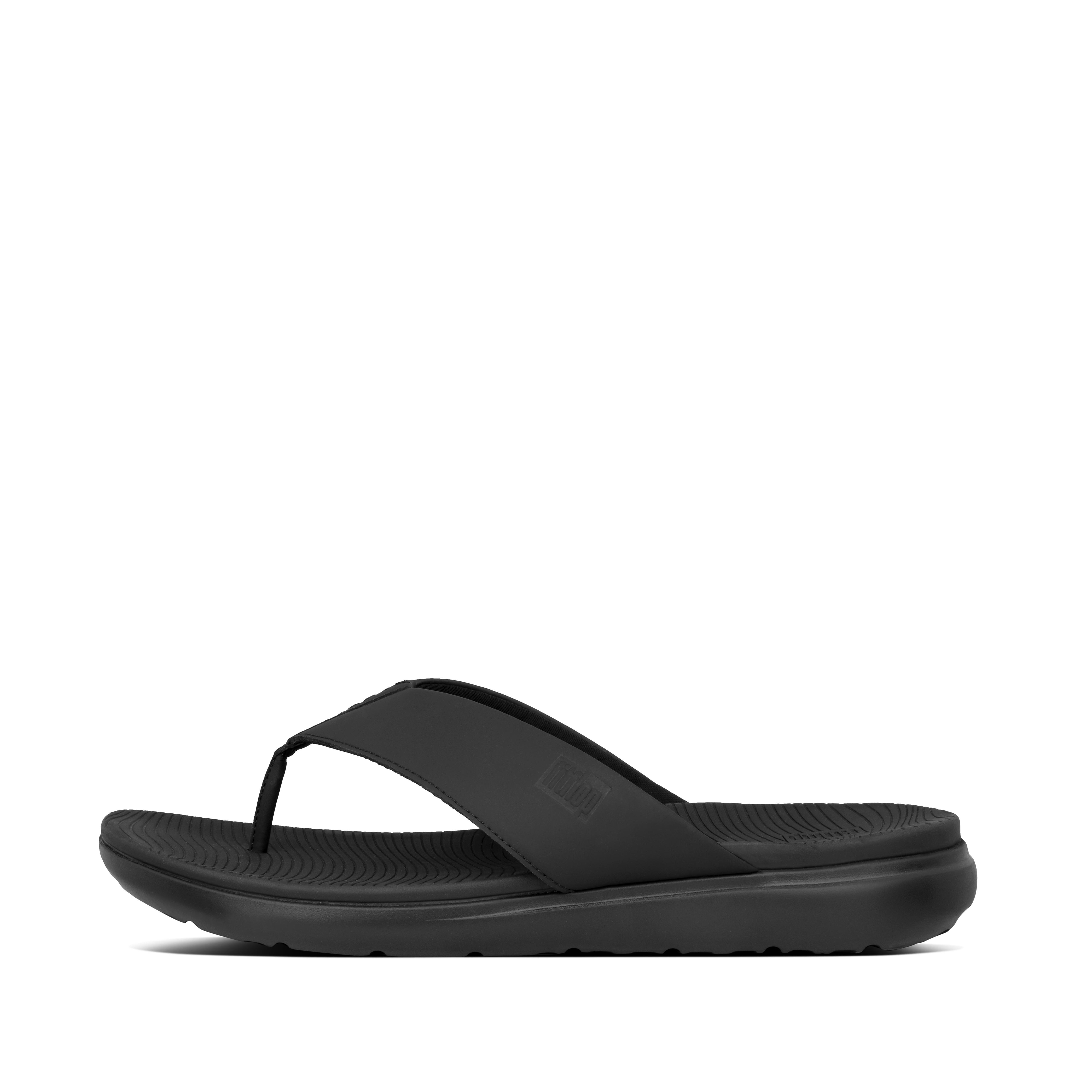 핏플랍 LIDO-II 샌들 Mens Neoprene Toe-Post Sandals,Black