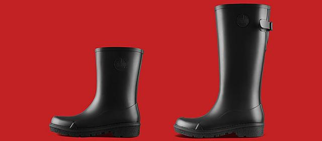 Fitflop WonderWelly, ladies black wellies in Short and Tall sizes
