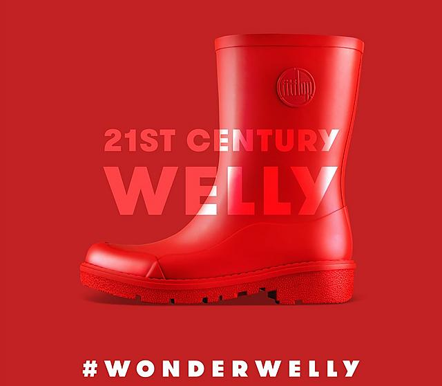 Fitflop Ladies short red wellington boot.