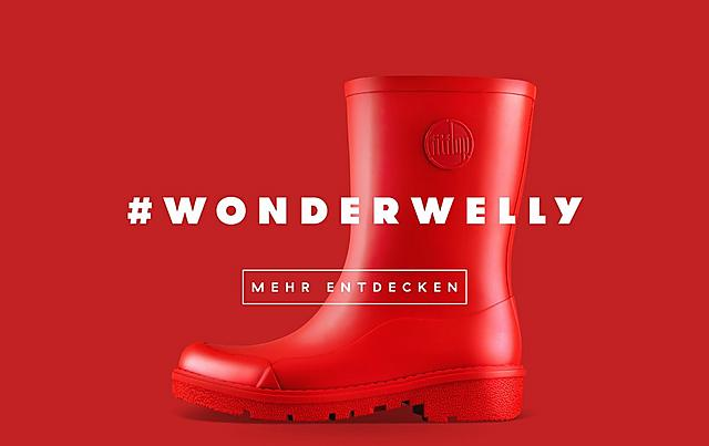 Fitflop Revolutionary WonderWelly boot, a short welly boot in red colour.
