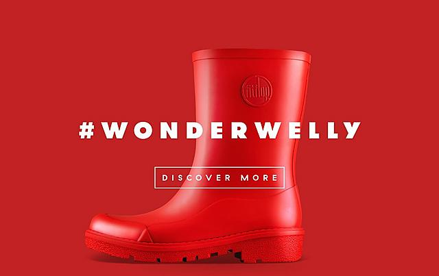 Fitflop Revolutionary WonderWelly boot, a tall welly boot in red colour.