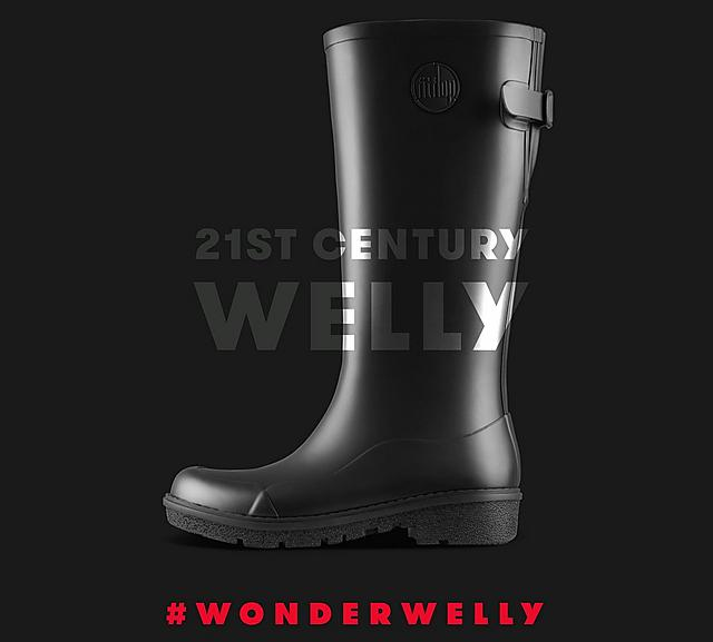 Fitflop WonderWelly, ladies tall black wellington boot
