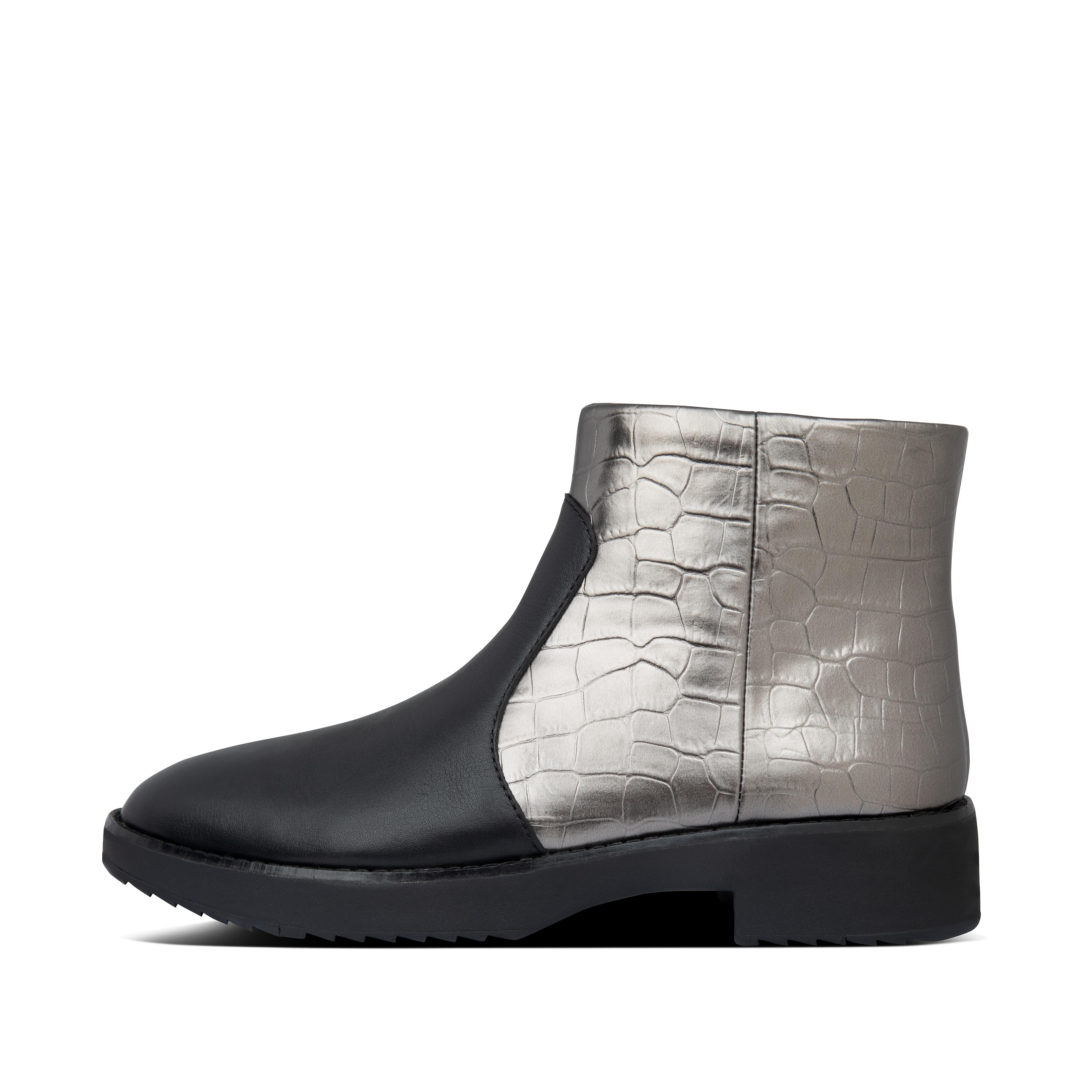 Your go-to statement boots this season - sleek, smart, standout. but seriously comfortable too. Low cut, mixing smooth leather and shiny metallic mock croc, these can go casual or formal and are a great between-seasons option. Sporting an inside zip and a smarter-look version of our all-day cushioning Supercom FF™ midsoles, with a small heel and softly pointed toe. An unbeatable combo of practical and fabulous.