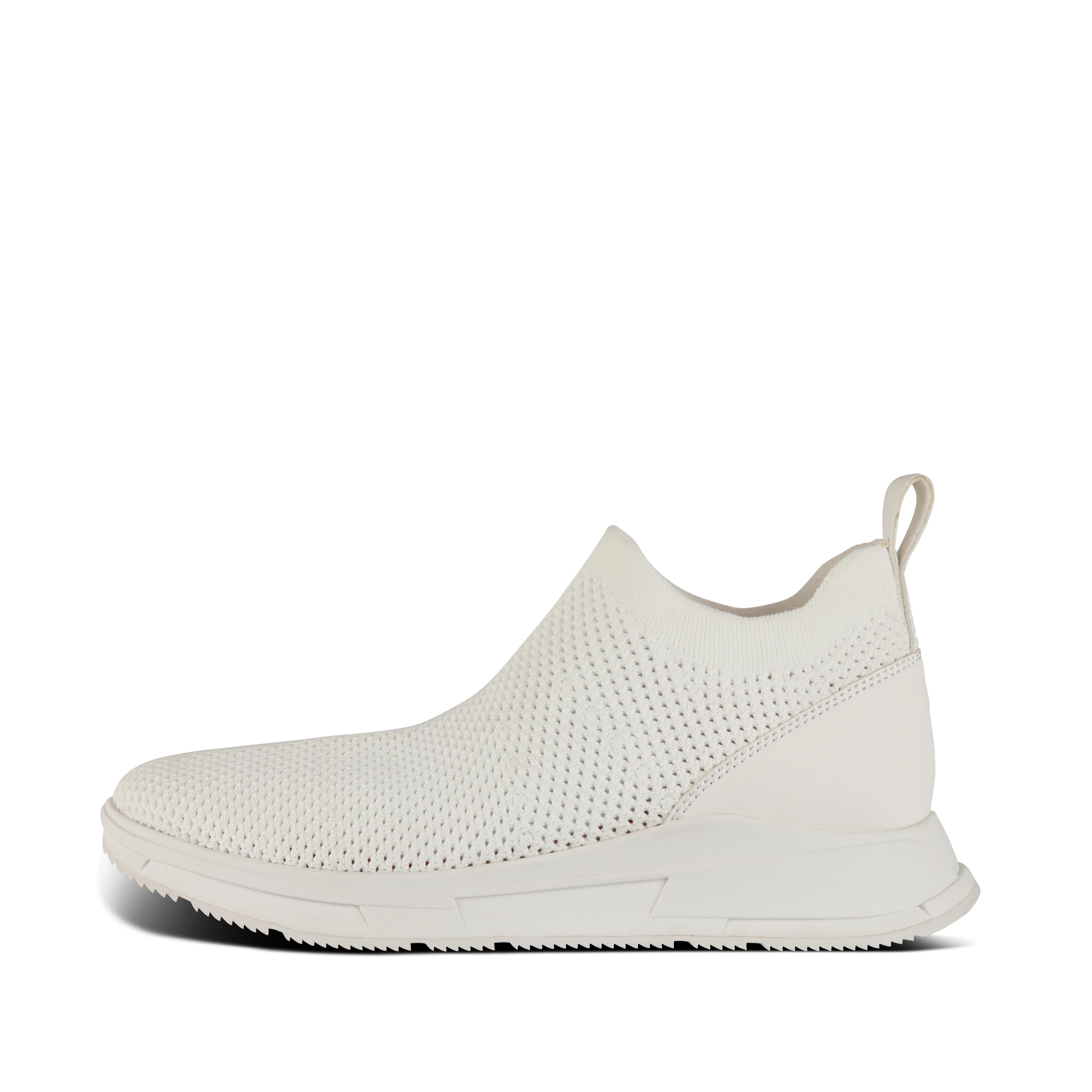 Thinking big. For the first time our popular knit sneakers step out on a chunky sole. These are simple, stretchy, slip-straight-on, in a light, perforated engineered mesh perfect for summer. Detailing includes a pull tab, curvy top line and contrast faux-leather heel panel. With the sporty-look version of our legendary, supercushioned Microwobbleboard™ midsoles delivering unbeatable all-day comfort (and that stylishly chunky silhouette).