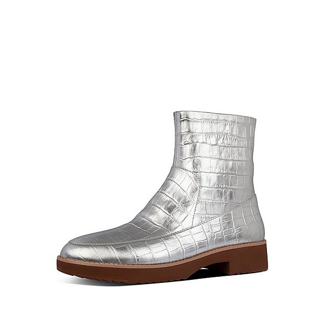 Fitflop silver leather ankle boot in croc print detail