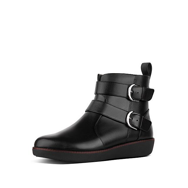 Fitflop black leather ankle boots with silver buckles
