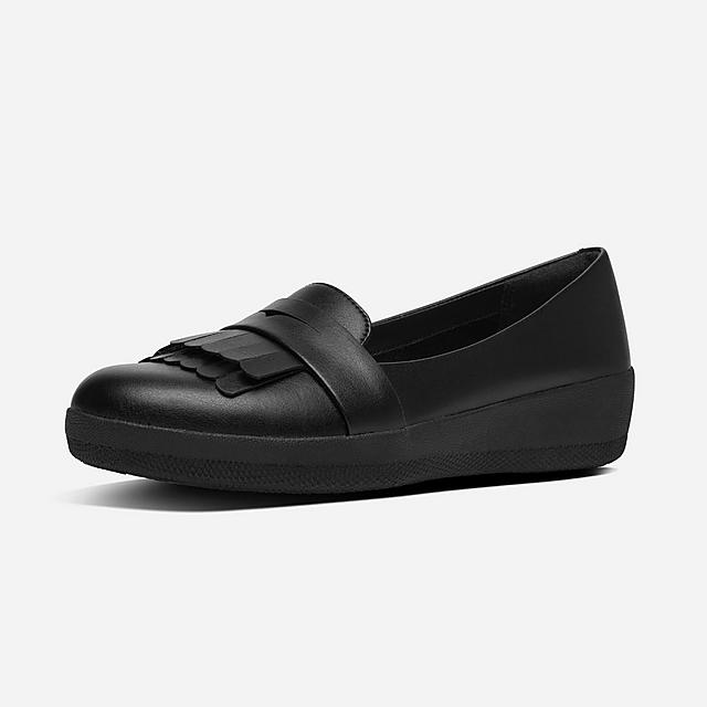 Fitflop black leather shoe with fringe detail