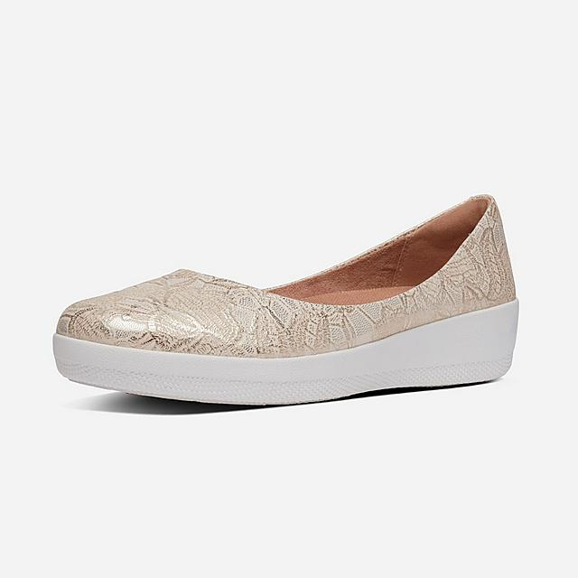Fitflop Flower Embossed Ballerinas in gold and white.