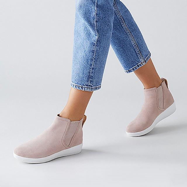 Fitflop superchelsea suede ankle boots in pink.