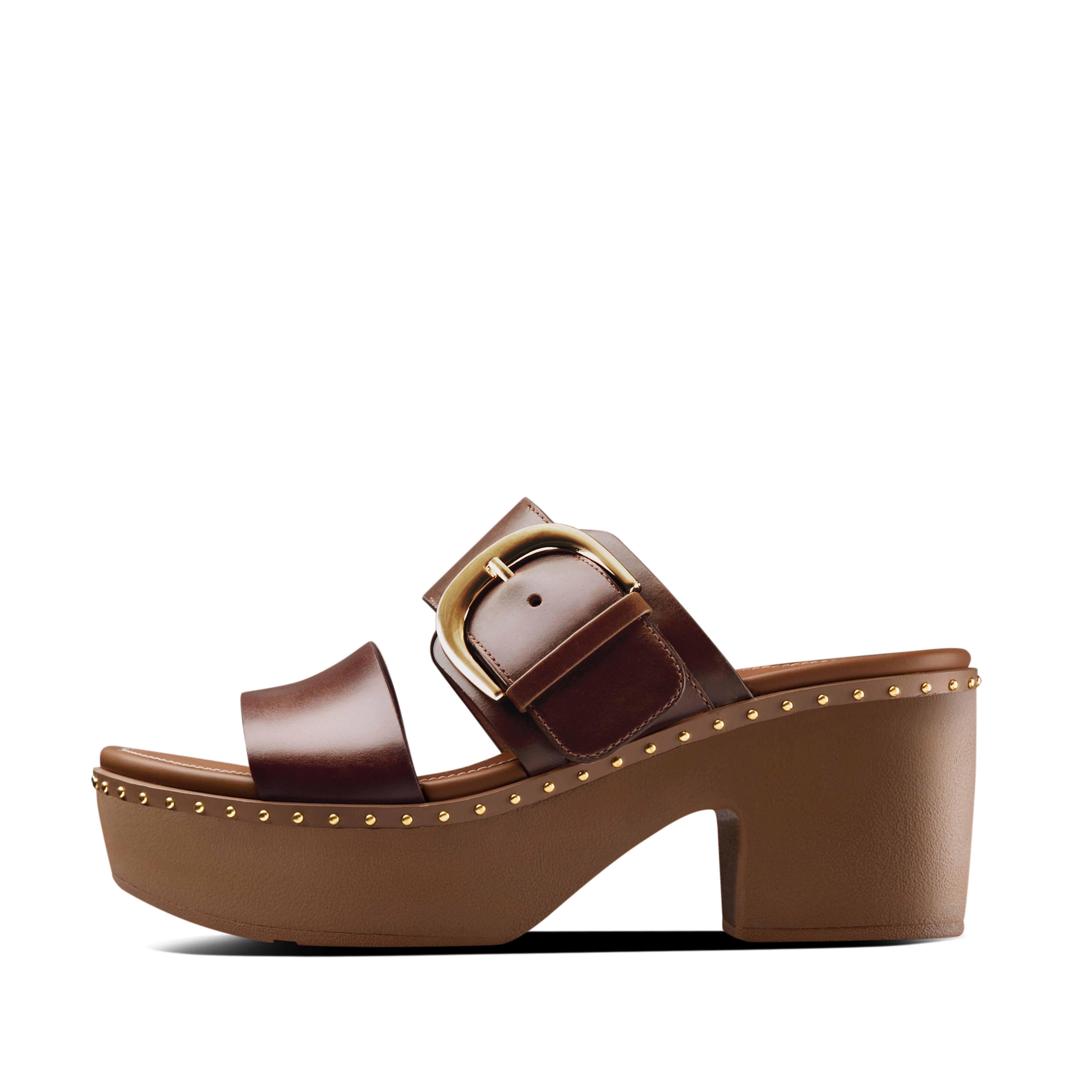 핏플랍 필라 플랫폼 슬라이드 FitFlop PILAR Leather Slide Platforms,Chocolate Brown