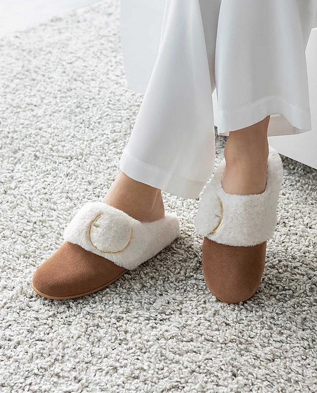 Fitflop Shearling Tilda slippers in tan colour with white fur