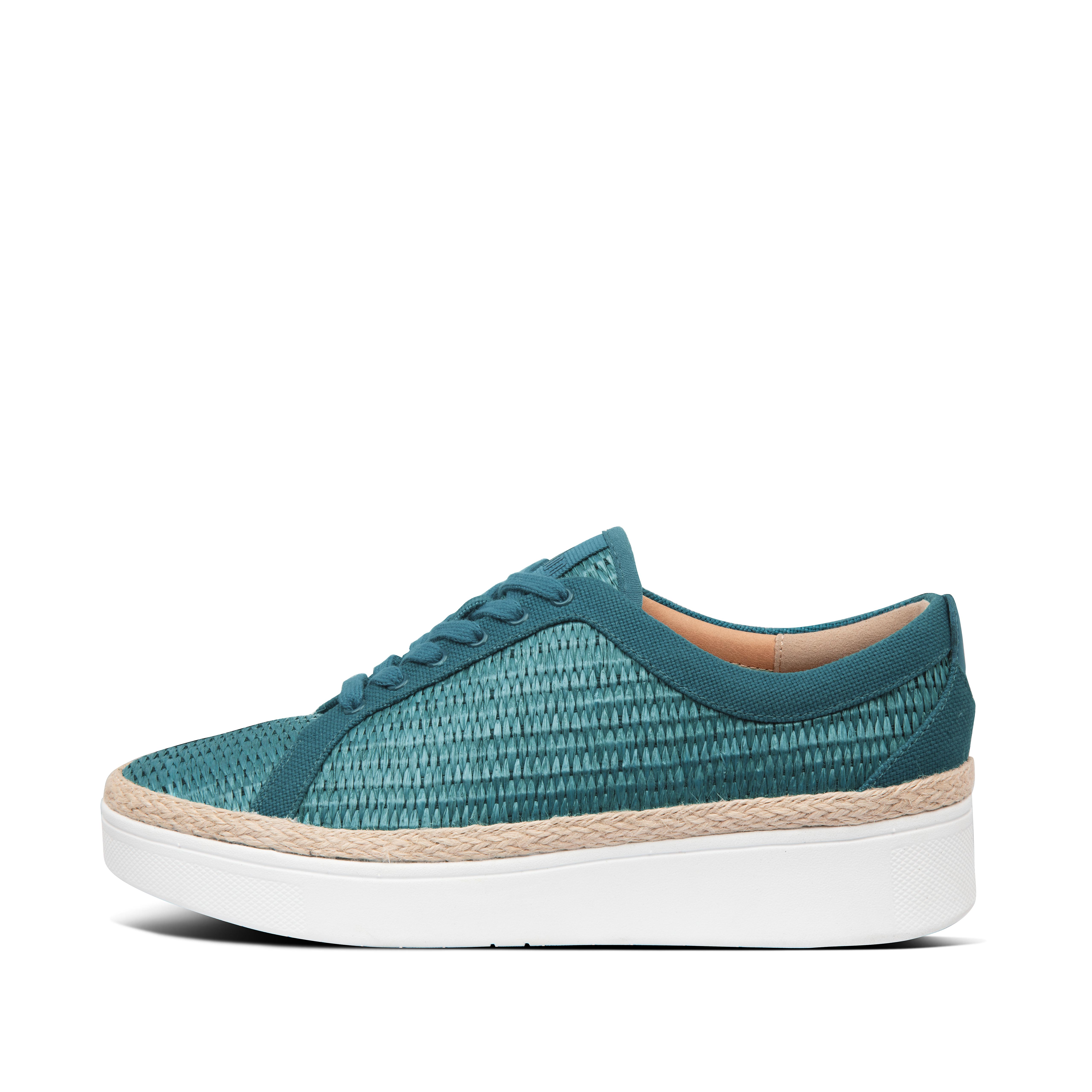 We\\\'ve reworked our tennis-style Rally trainer in woven raffia, with an espadrille-style jute trim. The natural fibres add texture to your look and give a chic, laidback, beachy vibe. While the classic shape works with everything from floaty dresses to denim cut-offs. On our ultra-light, superflexible, all-day-cushioning Anatomicush™ midsoles. These raffia weave sneakers are your stylish summer go-tos on busy days when comfort is non-negotiable.
