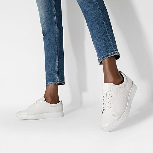 Croc-Embossed Leather Trainers