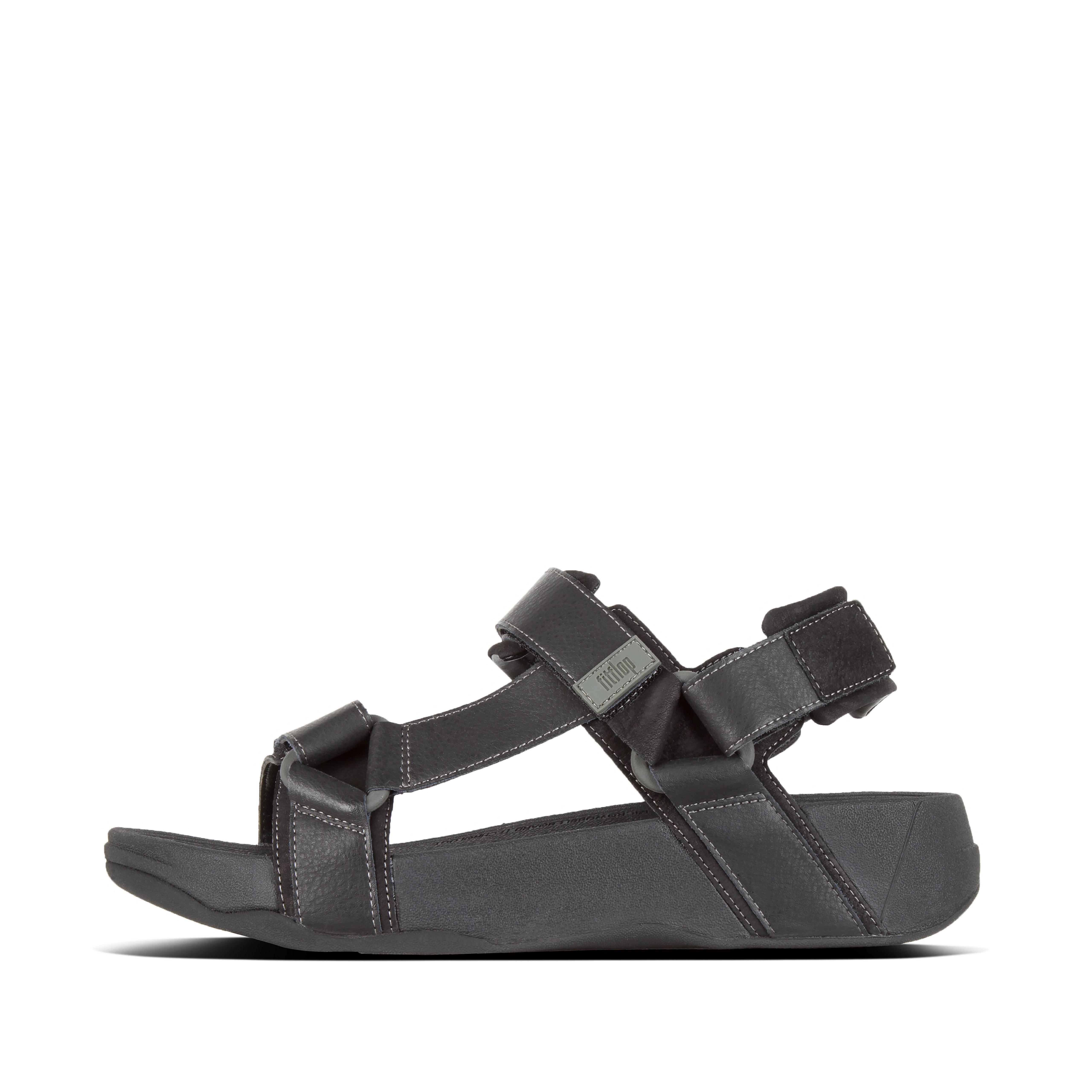 핏플랍 RYKER 샌들 Mens Leather Back-Strap-Sandals,Black