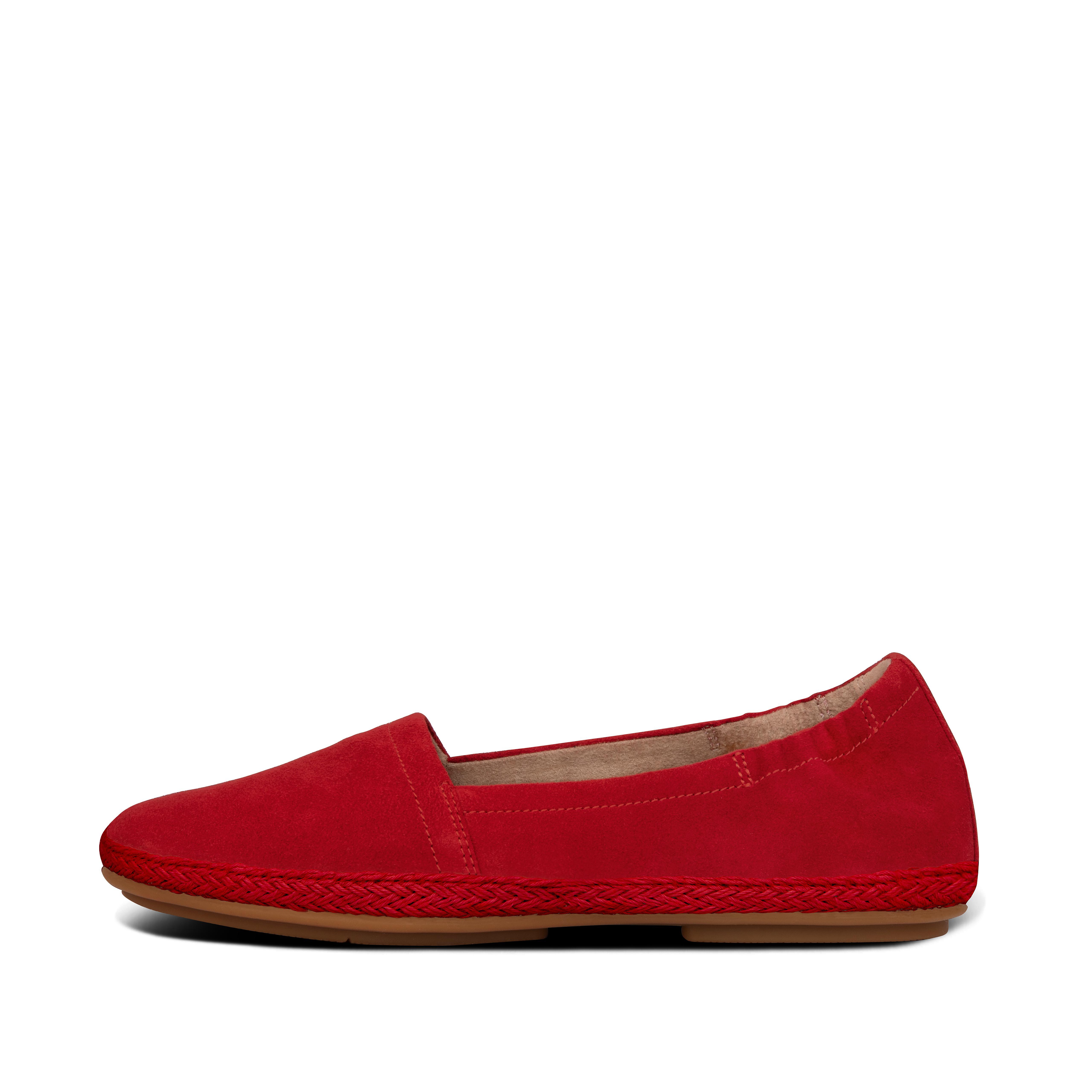핏플랍 FitFlop Womens Siren Suede Ballerinas,Red