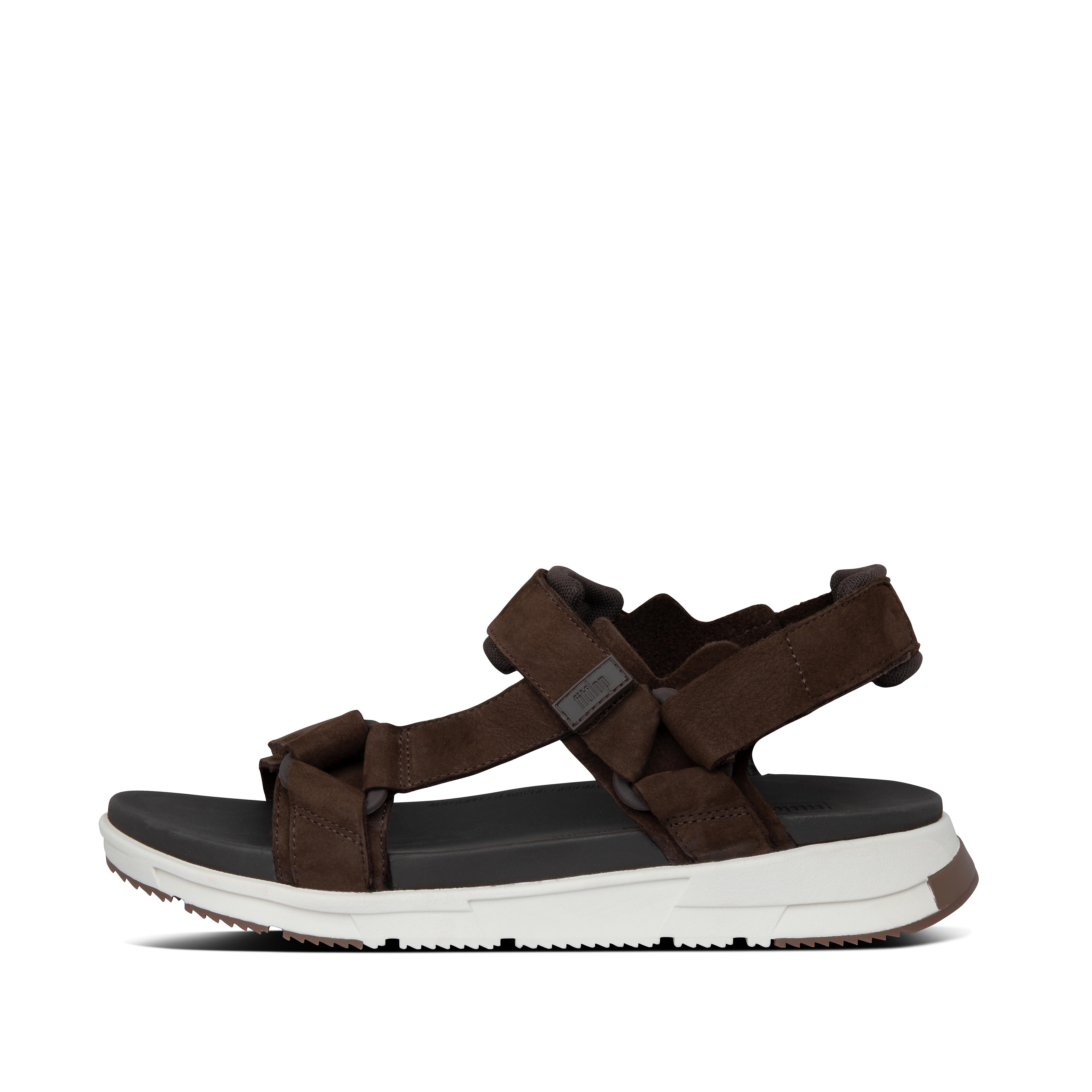 핏플랍 SPORTY 샌들 Mens Sporty Nubuck Back-Strap-Sandals,Chocolate Brown