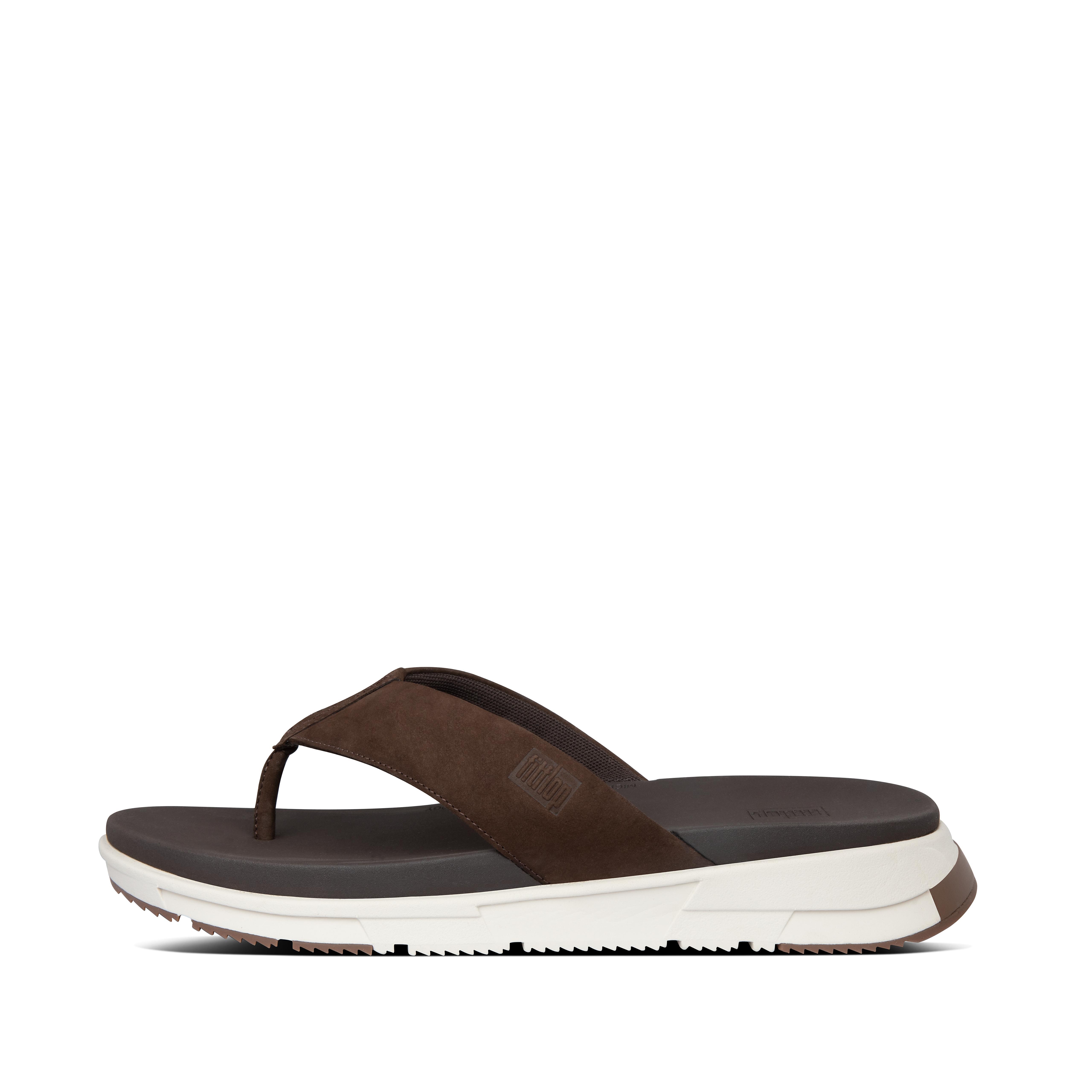 핏플랍 SPORTY 샌들 Mens Sporty Nubuck Toe-Post Sandals,Chocolate Brown