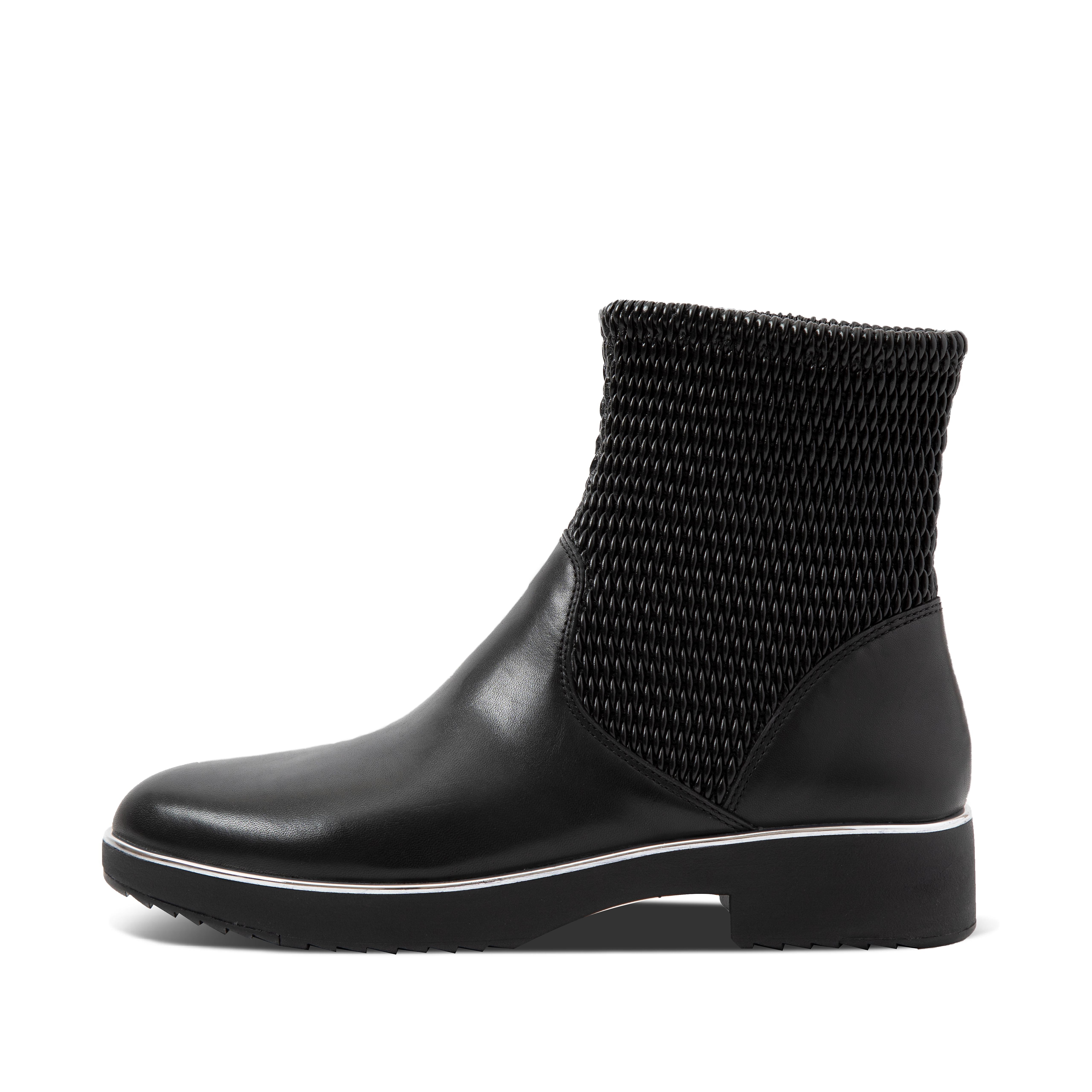 These sleek slip-on boots will instantly raise your style game. They\\\'ve got texture - mixing smooth leather with stretchy waffle-pattern faux-leather that hugs the ankle. And there\\\'s a shiny metal trim edging the sole for subtle detailing. The comfort is elevated too, thanks to the smart heeled version of our all-day cushioning Supercom FF™ midsoles. Need good looking boots that are also great to walk in? Your search is over. Here in an ankle version.