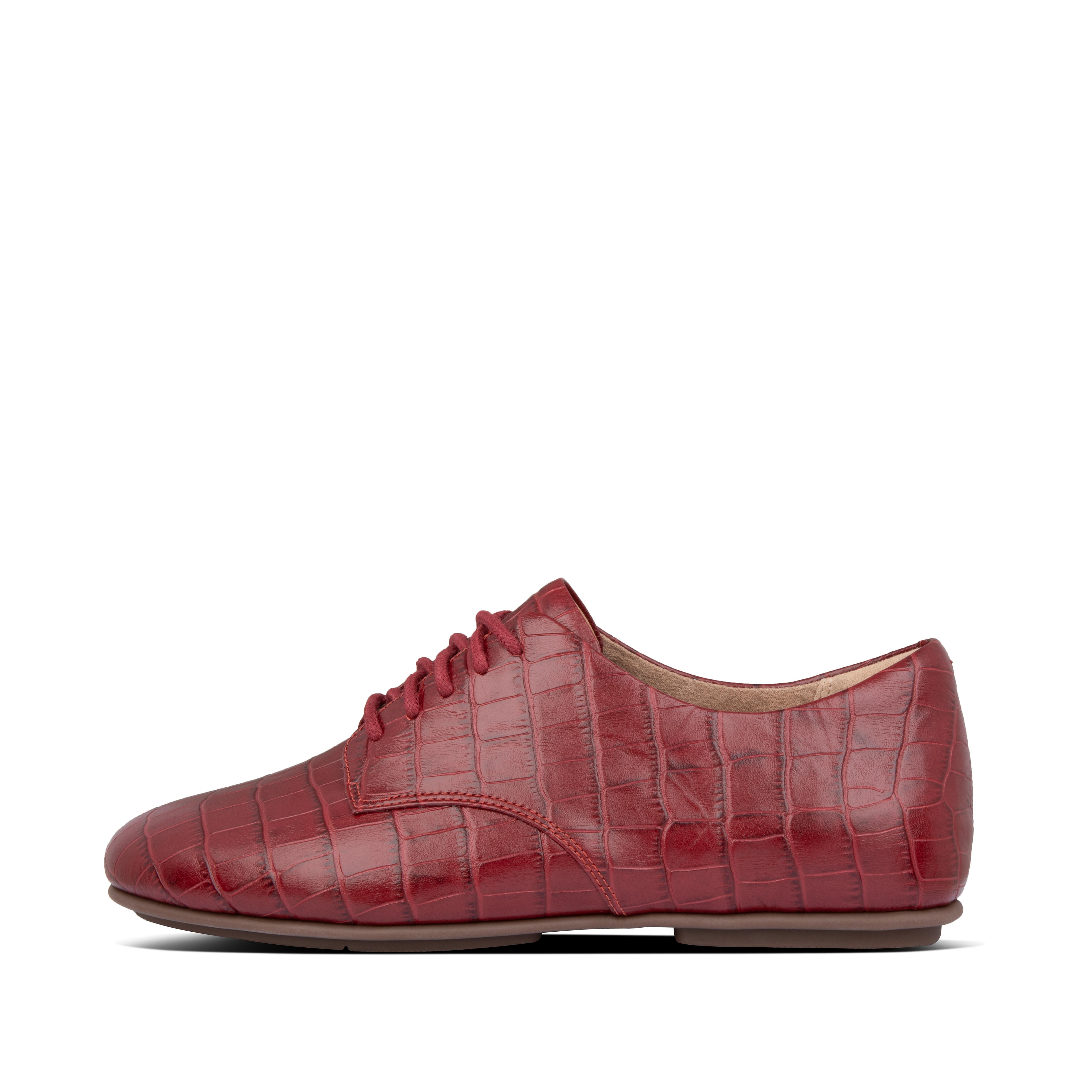 Warning: these lace-ups look so neat and sleek, the comfort and cushioning inside may come as a shock. This season in on-trend croc-emboss leather, they\\\'re classic, feminine, ultra-light. but slip them on and you\\\'ll think you\\\'re wearing sneakers. That\\\'s because of their footbed design (anatomically contoured to support your feet) and our high-rebound Dynamicush™ cushioning tech hidden in the \\\'flat\\\' soles. Supple, simple - and so comfortable.