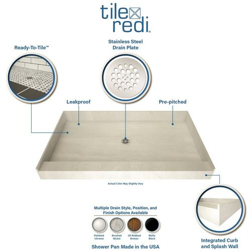 Tile Redi Single Curb Shower Pan With, Outdoor Shower Drainage Pans