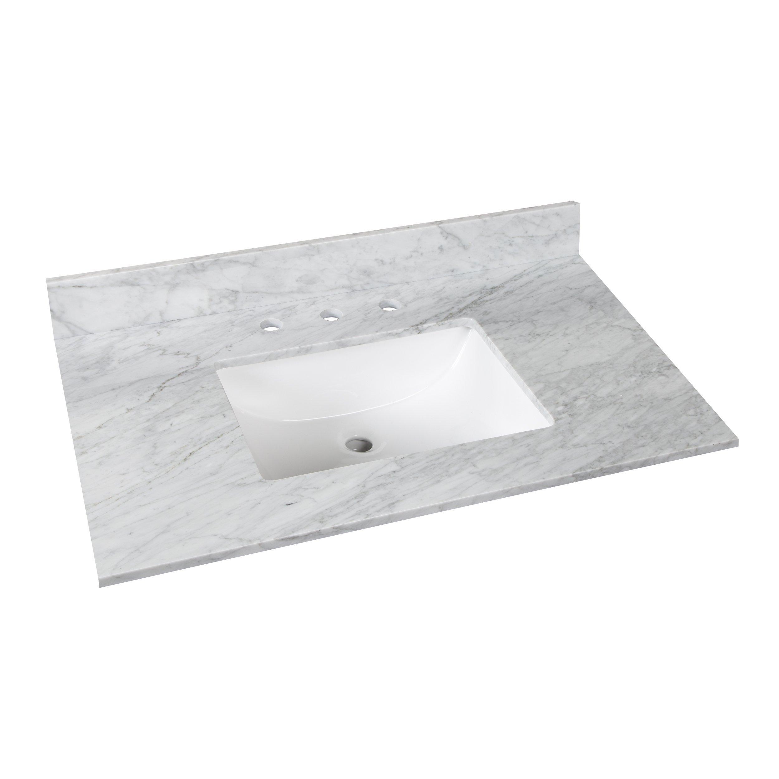Bianco Carrara Marble 37 In Vanity Top Includes Backsplash 37in 100584135 Floor And Decor