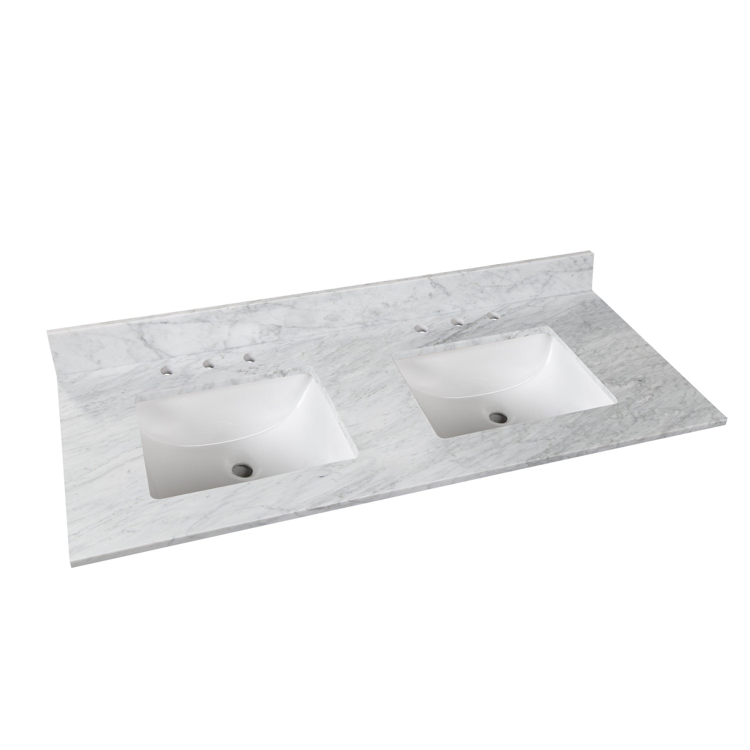 Bianco Carrara Marble 20 in. Vanity Top includes Backsplash