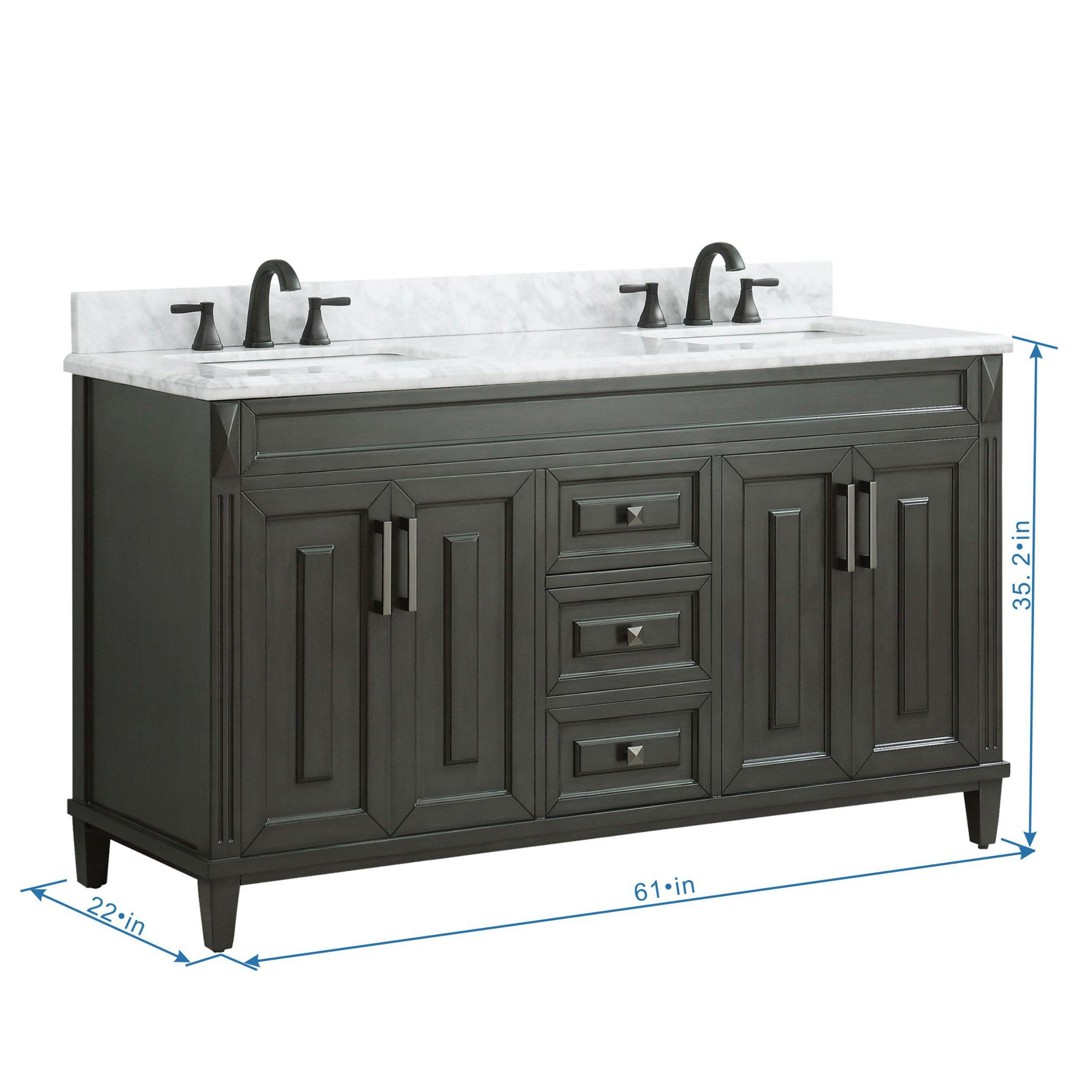 Sterling 61 In Vanity With Carrara Marble Top 61in 100610401 Floor And Decor