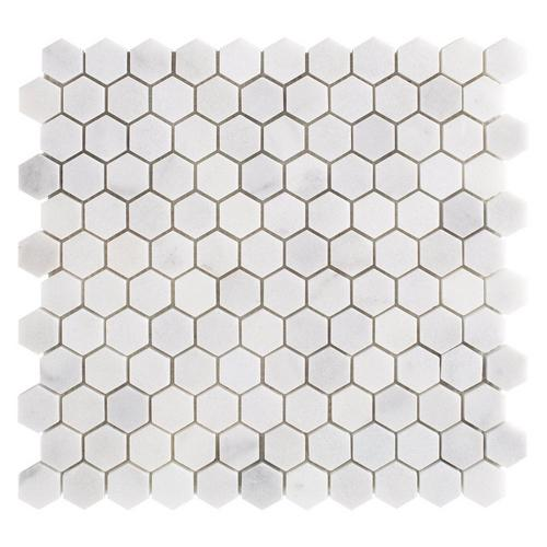 Carrara Chateau 1 In Hexagon Honed Marble Mosaic 11 X 12 100701911 Floor And Decor