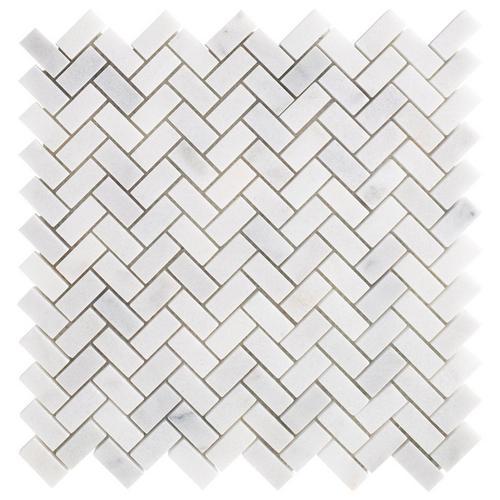 Carrara Chateau Herringbone Honed Marble Mosaic 11 X 11 100701929 Floor And Decor