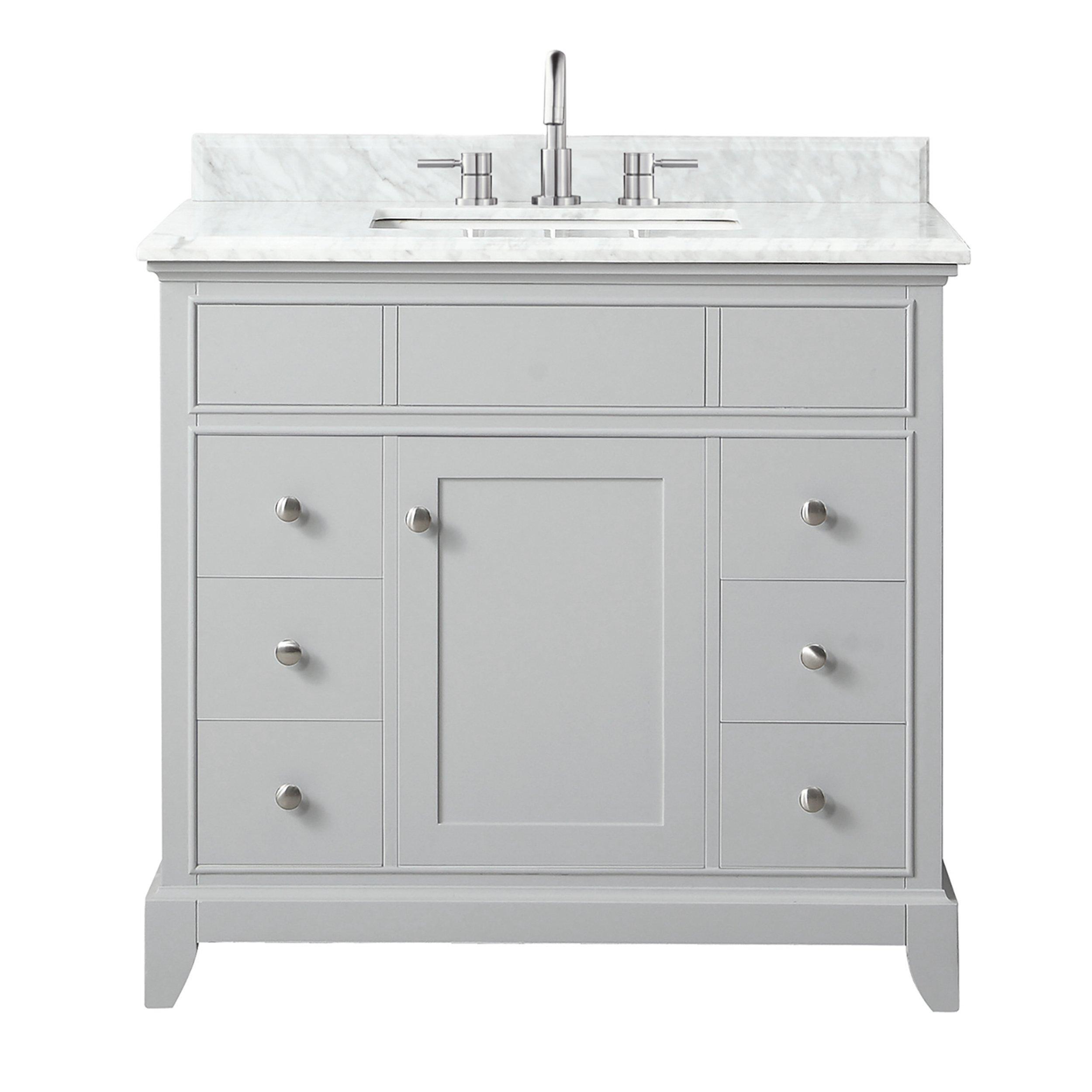 Aurora 37 In Vanity With Carrara Marble Top 37in 100821479 Floor And Decor