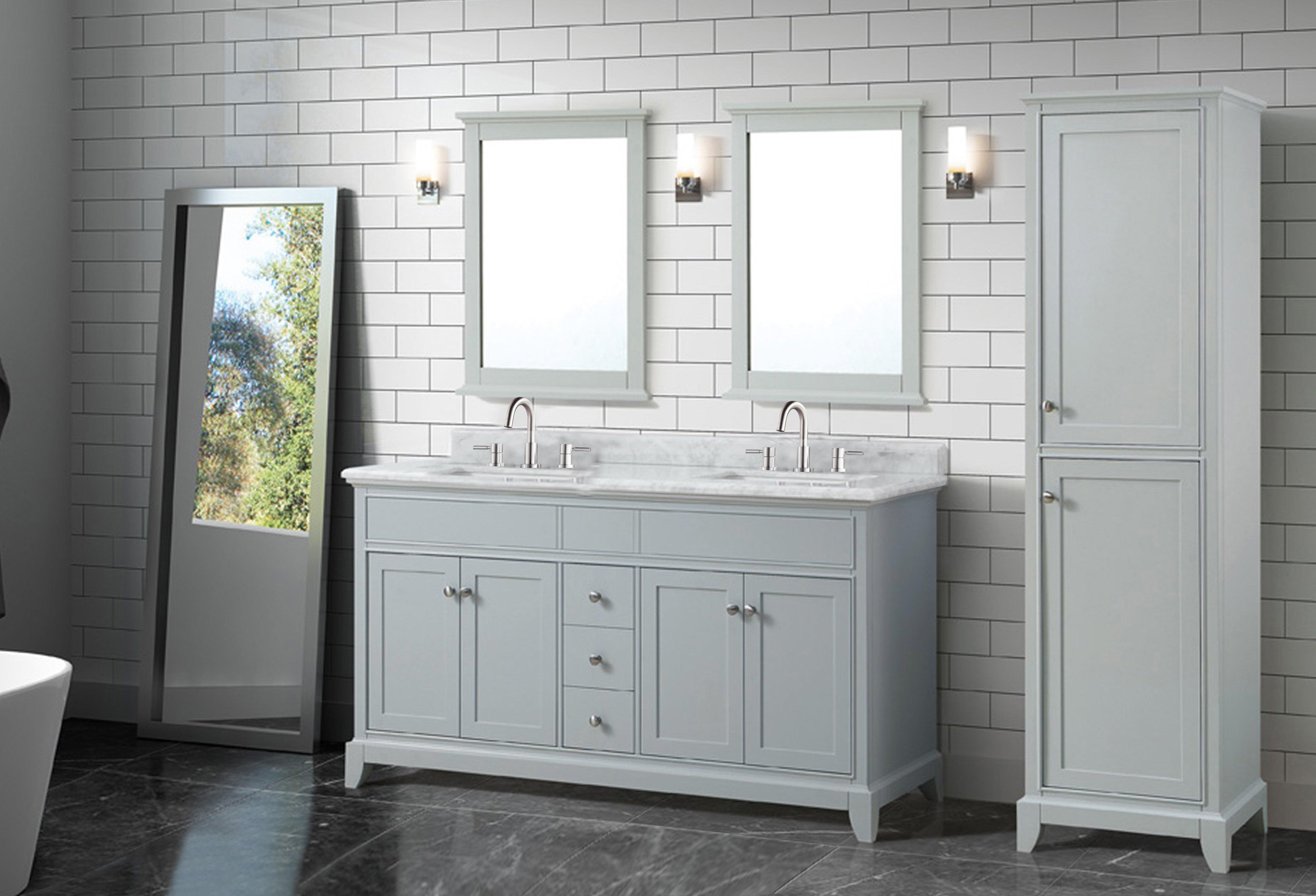 Aurora 61 In Vanity With Carrara Marble Top 61in 100821495 Floor And Decor