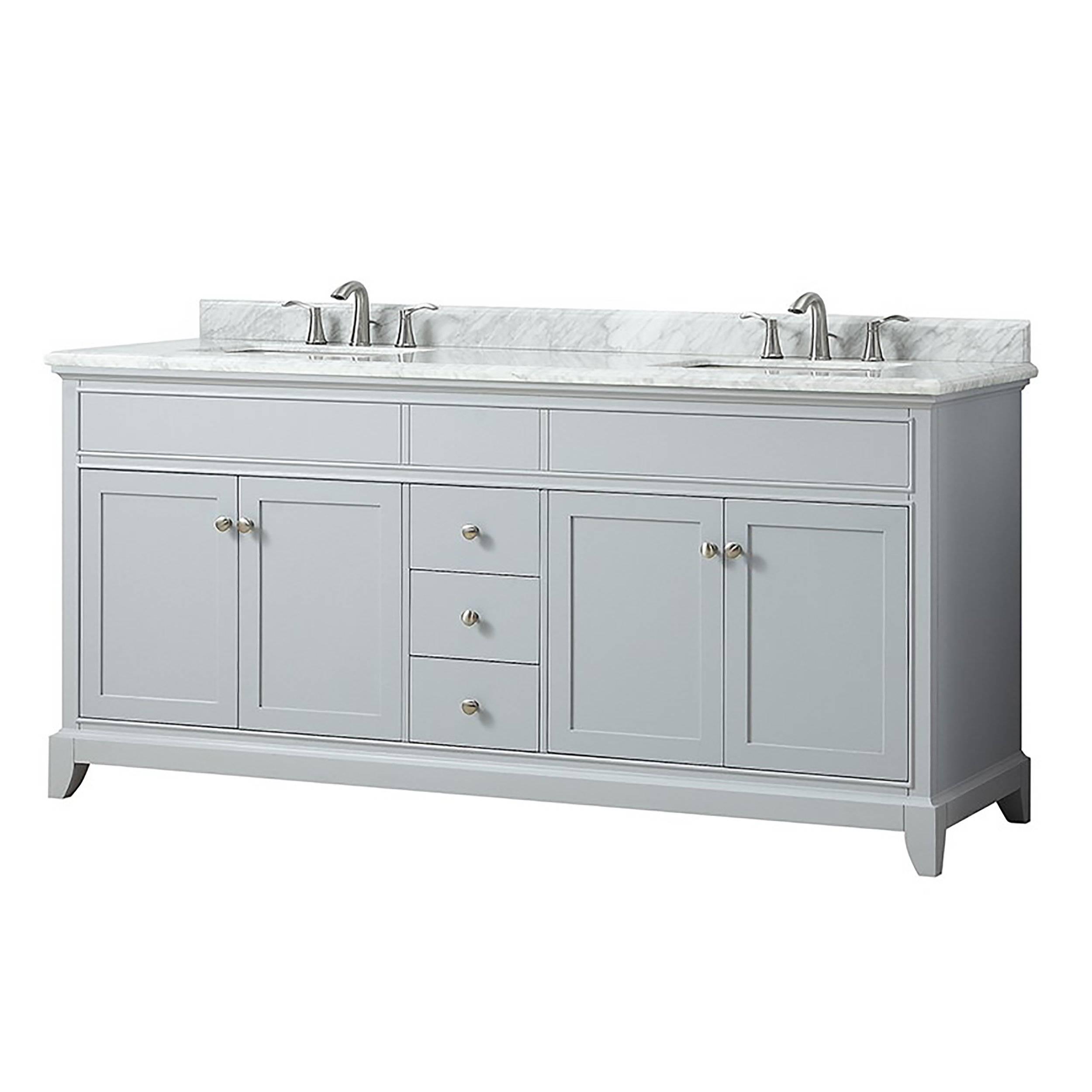 Aurora 73 In Vanity With Carrara Marble Top 73in 100610344 Floor And Decor