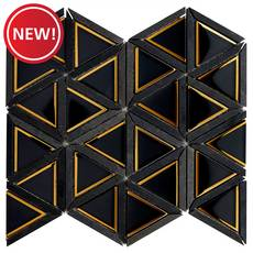 New! Noir Oro Triangle Glass Mosaic