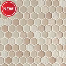 New! Platino 1.5 in. Hexagon Glass Mosaic