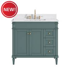 New! Bristol 37 in. Green Blue Vanity With Engineered Top