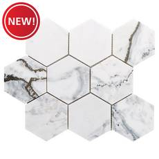 New! Calcatta Brilliant 4 in. Polished Marble Hexagon Mosaic