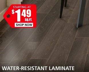 Water Resistant Laminate starting  at $1.69 per square foot