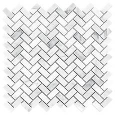 Thassos Herringbone Polished Marble Mosaic 12 X 12 100105022 Floor And Decor
