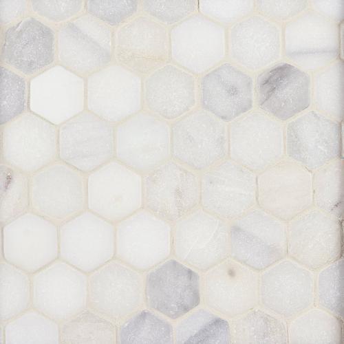 White Hexagon Tumbled Marble Mosaic