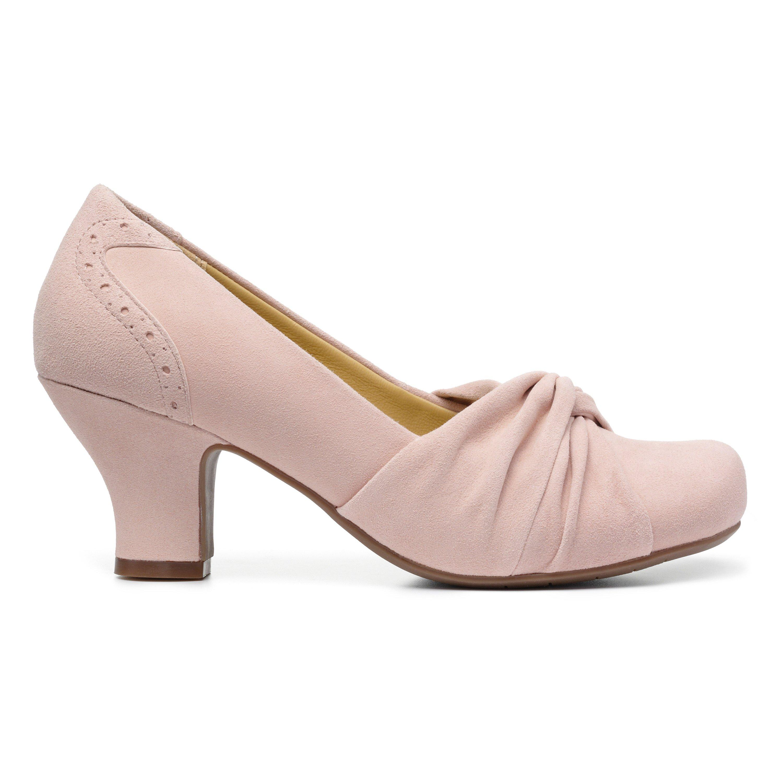 1950s Shoe Styles: Heels, Flats, Sandals, Saddle Shoes Amethyst Heels - Powder Pink Standard Fit 11 $135.00 AT vintagedancer.com