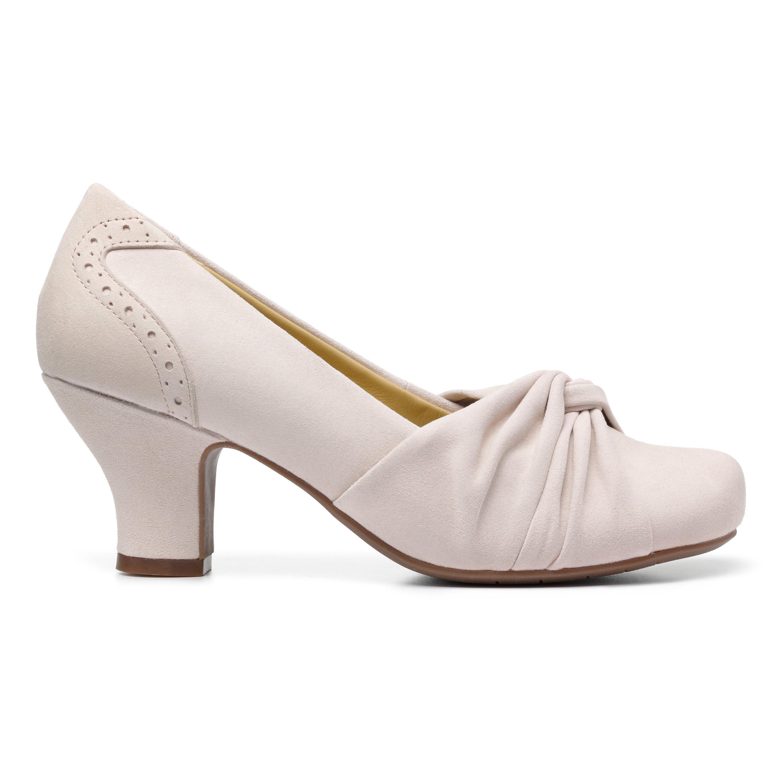 1950s Shoe Styles: Heels, Flats, Sandals, Saddle Shoes Amethyst Heels - Soft Beige Standard Fit 11 $135.00 AT vintagedancer.com