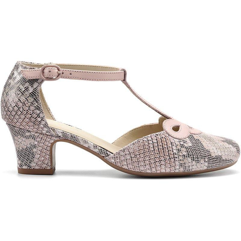 60s Shoes, Boots Darcy Heels - Blush Reptile Multi Standard Fit 11 $139.00 AT vintagedancer.com