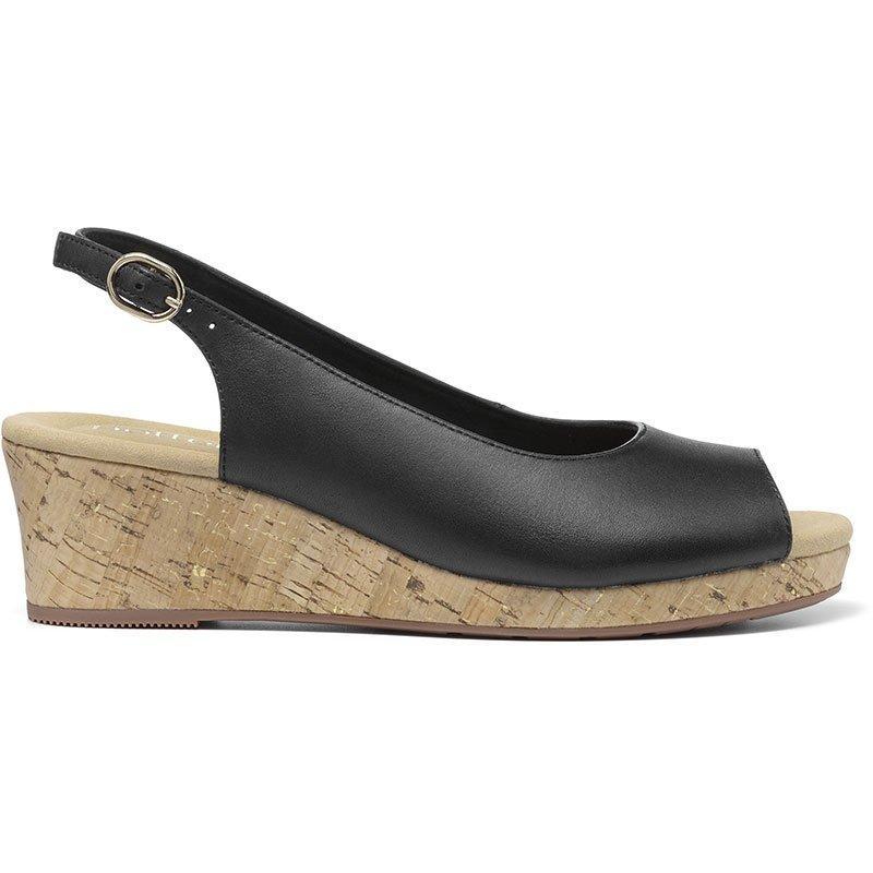 1940s Style Shoes, 40s Shoes Tahiti Wedges - Black Standard Fit 11 $135.00 AT vintagedancer.com