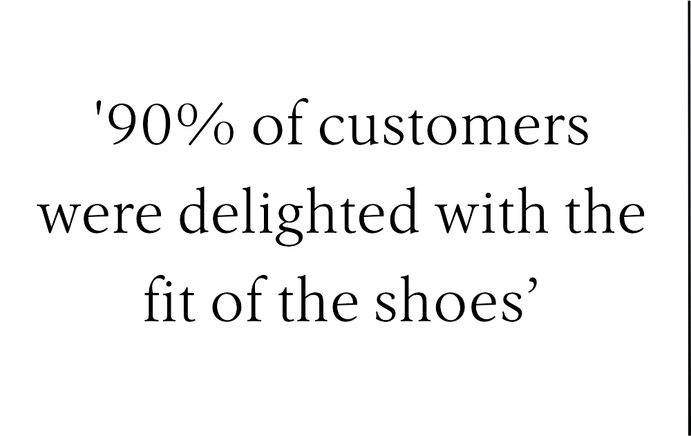 90% of customers were delighted with the fit of the shoes