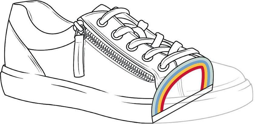 Cut through of shoe