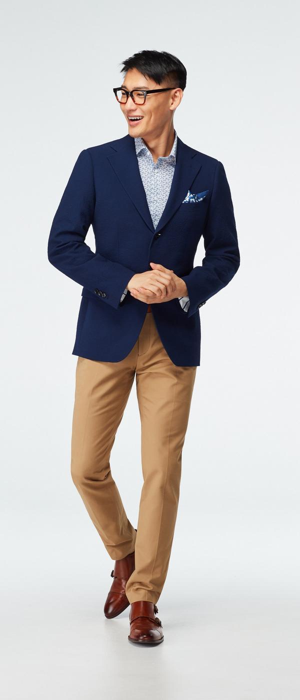Stapleford Seersucker Navy Blazer