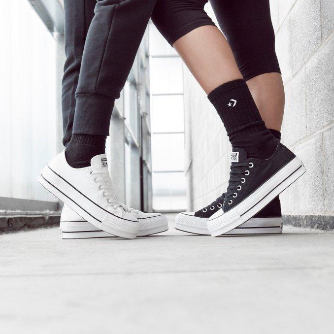 Converse platform blanco y negro mujer hi