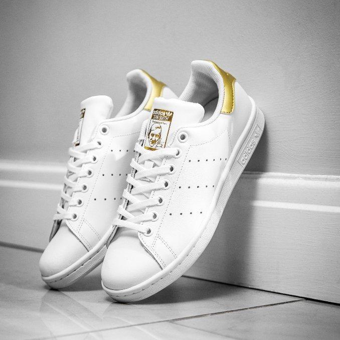 adidas Stan Smith brancas e douradas