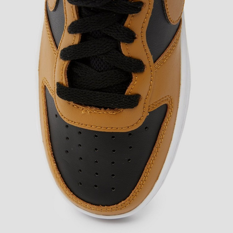 NIKE COURT BOROUGH LOW 2 SNEAKERS ZWART/BRUIN KINDEREN